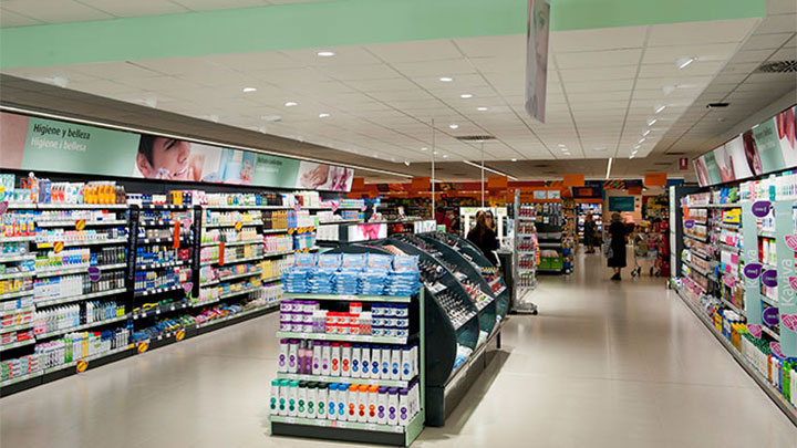 Good aisles lighting guiding customer through the store at Consume Supermarkets, Valencia