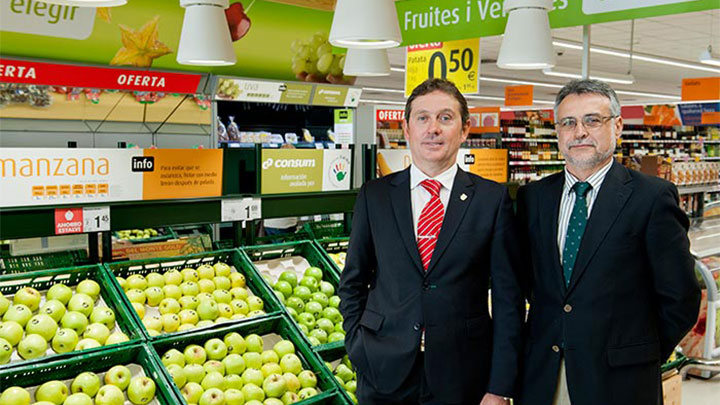 D. Emilio Bermell - Works Division Manager, Development Department posing in front of fruits at Consum Supermarkets, Valencia