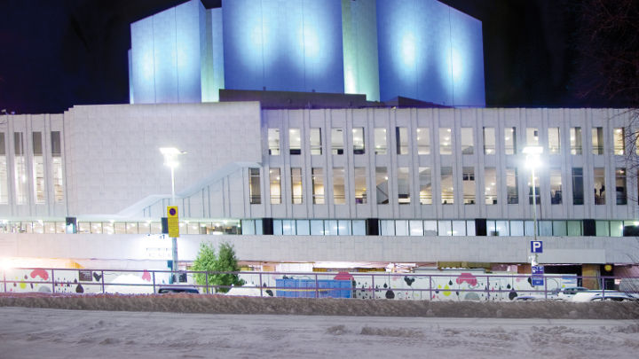 Philips architectural lighting has installed impressive energy saving lights to the exterior of Finlandia Hall