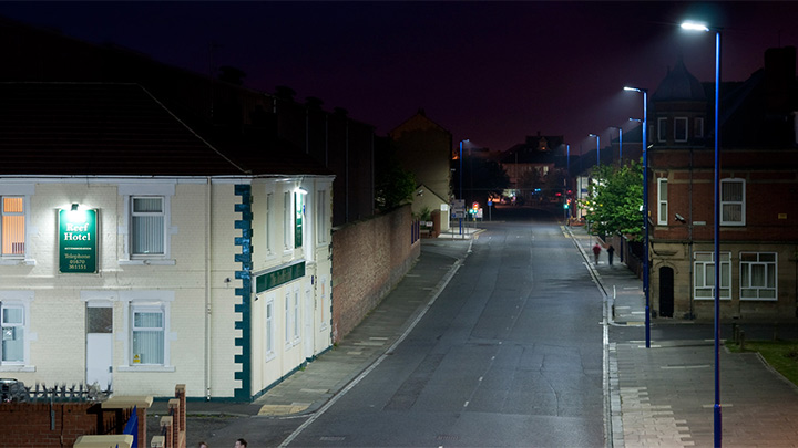 A street illuminated with Philips white light while making citizens to feel safer