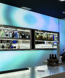 Luminous textile brings hotel bar to life - Philips hotel lighting